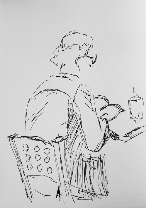 Sketch: Pen and Ink -Strange Hair Man Reading