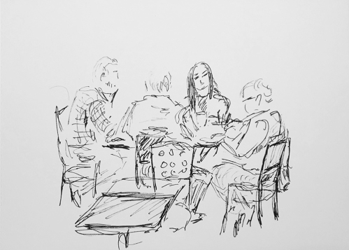Sketch: Pen and Ink - The Meeting