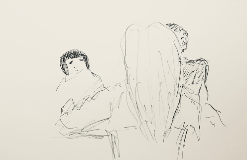 Sketch: Pen and Ink - Family at Fast Food Restaurant