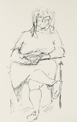 Sketch: Pen and Ink - Lady Filling Out a Form