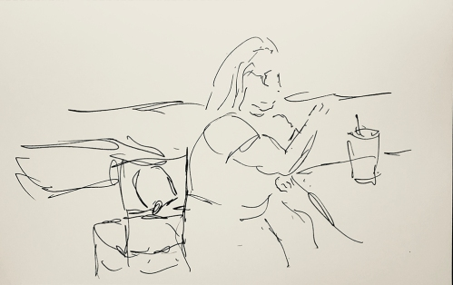 Sketch: Pen and Ink - Lady in a Fast Food Restaurant