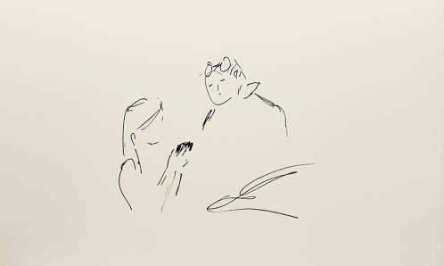 Sketch: Pen and Ink - Mother and Child done really quickly