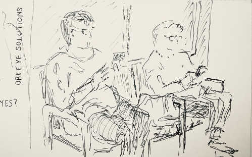 Pen and Ink: Eye Doc Waiting Room Waiters, Pre-Blurry