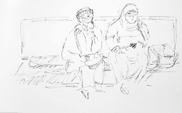 Sketch: Pen and Ink - Woman Wearing Mask at Clinic