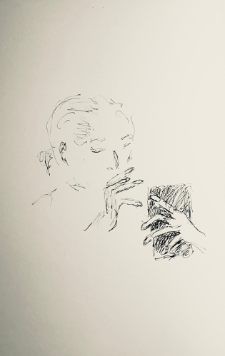 Sketch: Pen and Ink - Woman with Drying Nails on the Phone