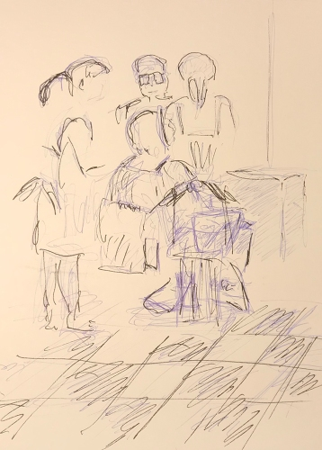 Sketch: Pen and Ink - Beauty Parlor