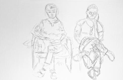 Sketch: Pencil - Calm Woman, Nervous Man