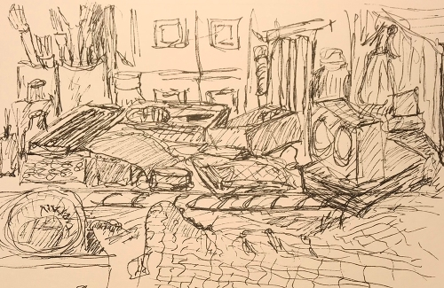 Sketch: Pen and Ink - Clock Room