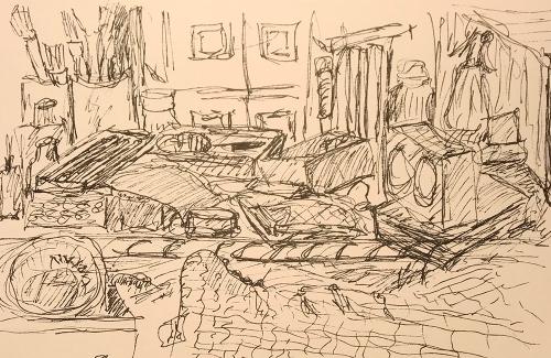 Sketch: Pen and Ink - Clock Room
