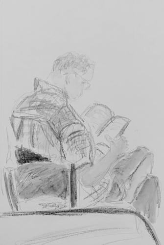 Sketch: Pencil and Wash - Cozy Man, Reading