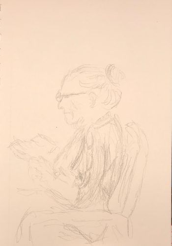 Sketch: Pencil - Lady Reading Funny Book
