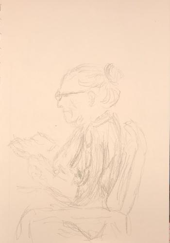 Sketch: Pencil - Lady Reading Funny Book