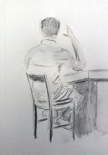 Sketch: Pencil and Wash - Man at Bar