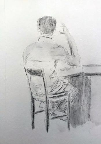 Sketch: Pencil and Wash - Man at Bar