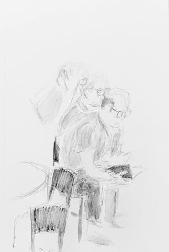 Sketch: Pencil - Man Settling In