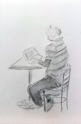 Sketch: Pencil and Wash - Man Typing