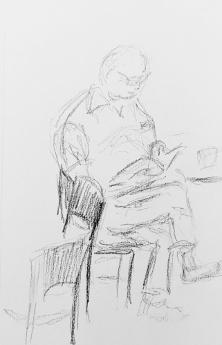 Sketch: Pencil - Man with Crossed Legs Reading a Book