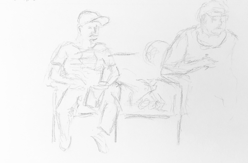 Sketch: Pencil - Man, Child and Woman Waiting Transiently