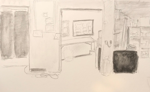 Sketch: Pencil and Wash - View of the Break Room