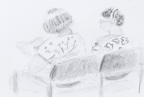 Sketch: Pencil and Wash - Two Women Waiting, One for Reading Glasses