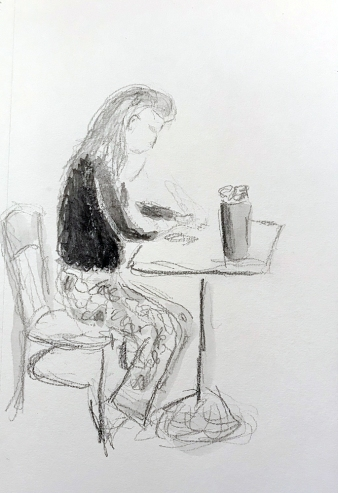 Sketch: Pencil - Young Lady with Pattered Pants