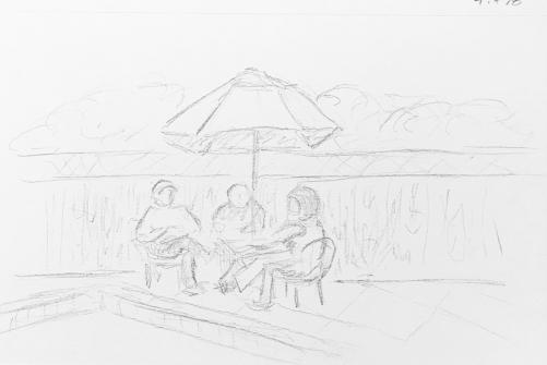 Sketch: Pencil - At the Pool