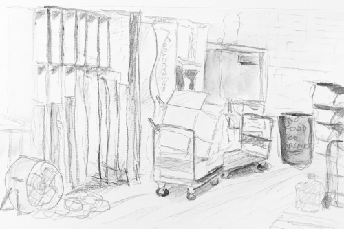 Sketch: Pencil and Wash - Back Office: Waning Days of Existence