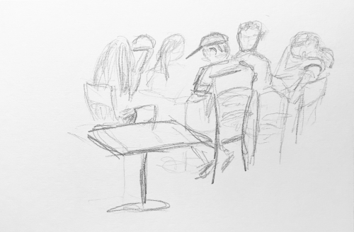Sketch: Pencil - Crowded Table
