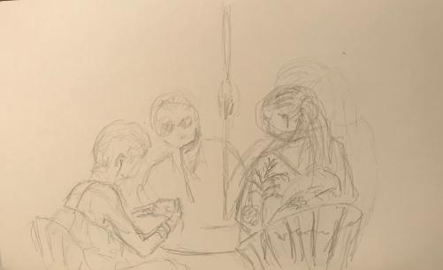 Sketch: Pencil - Drying Off Under the Umbrella