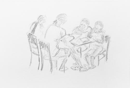 Sketch: Pencil - Family Reading