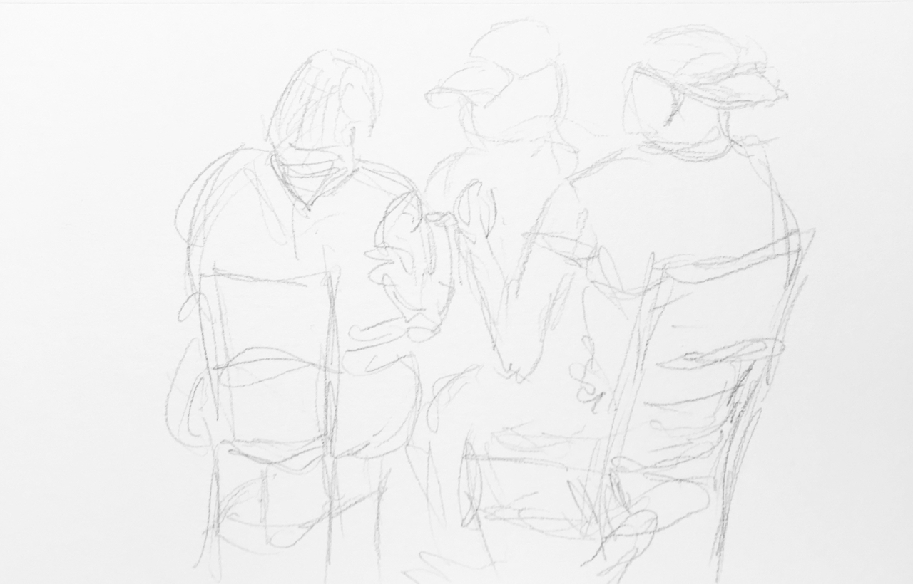 Line Drawing Technique Ethics : Interposed figures brotherly love