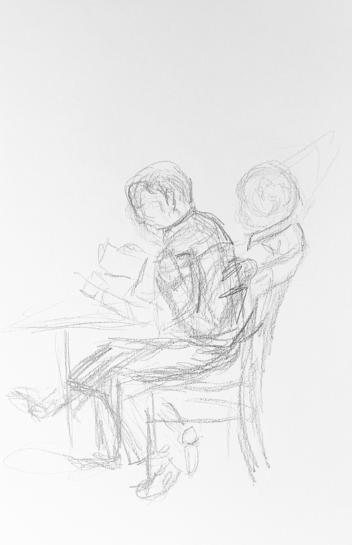 Sketch: Pencil - Man Intent, Then Relaxed