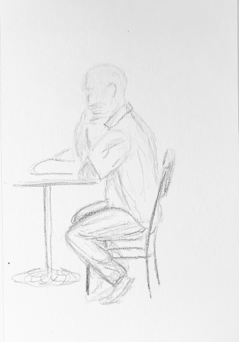 Sketch: Pencil - Man Reading a Magazine