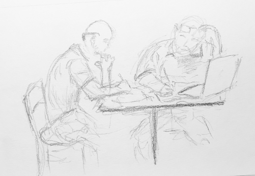 Sketch: Pencil - Man with Glasses on Head Teaching Man with Sunglasses Behind Head
