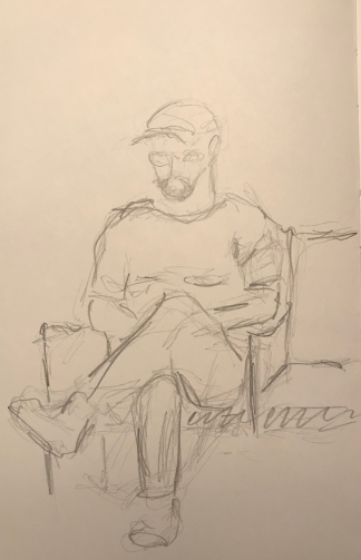 Sketch: Pencil - Man with Legs Crossed
