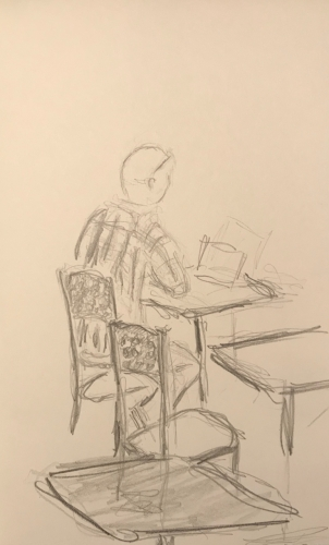 Sketch: Pencil - Man with Stripes on His Shirt