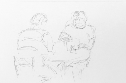 Sketch: Pencil - Man Paying for a Meal