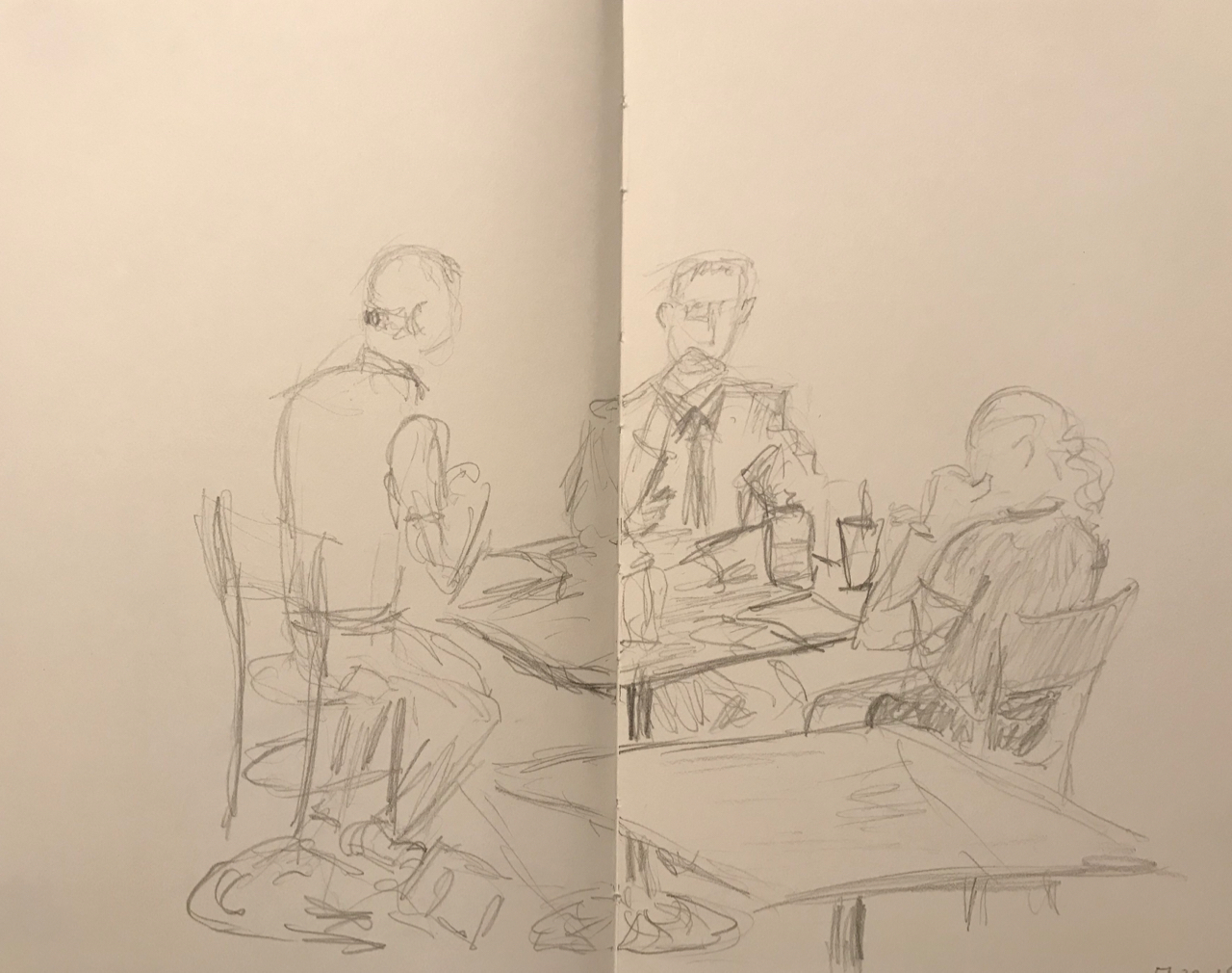 Sketch pencil people playing cards or having a business meeting