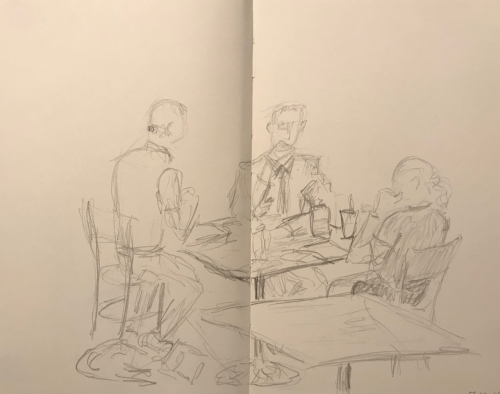 Sketch: Pencil - People Playing Cards or Having a Business Meeting