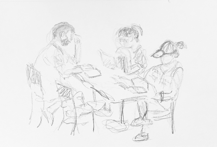 Sketch: Pencil - Study Group in the Rough