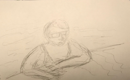 Sketch: Pencil - Woman in Pool