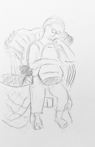 Sketch: Pencil - Woman Waiting For Her Car To Be Washed