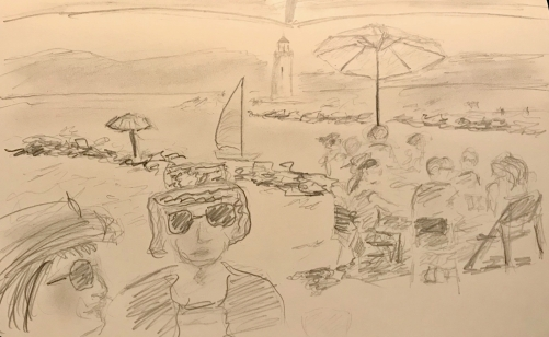Sketch: Pencil - Beach from the Shade