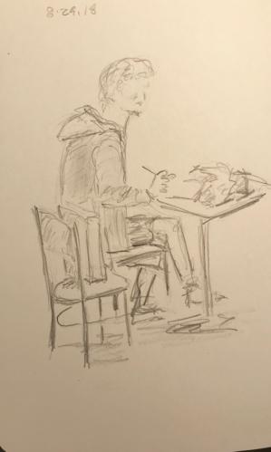 Sketch: Pencil - Man Happy with Music
