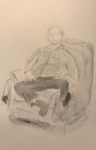 Sketch: Pencil - Man Resting His Injured Knee
