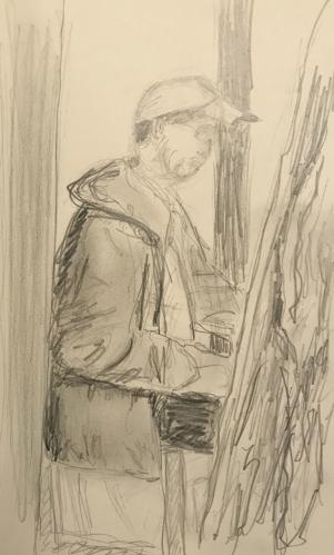 Sketch: Pencil - Man Sketching at Japanese Garden