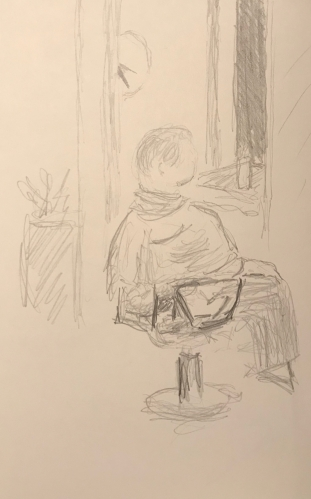 Sketch: Pencil - Woman at the Beauty Parlor