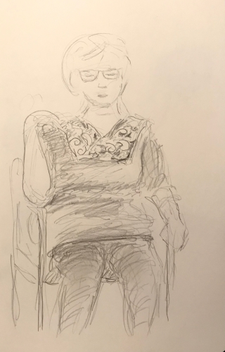 Sketch: Pencil - Woman Touching Her Shoulder