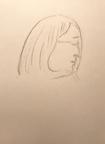 Sketch: Pencil - Woman with Curved Hair