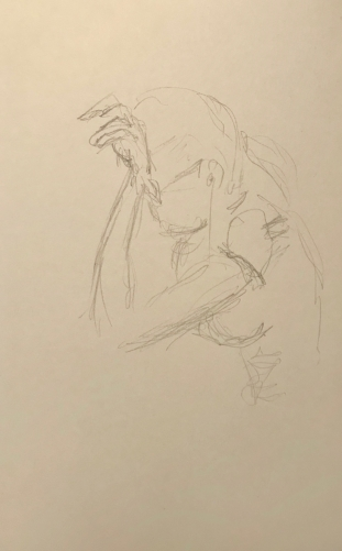 Sketch: Pencil - Young Lady Trying to Concentrate